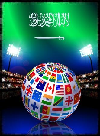 Saudi Arabia Flag with Globe on Stadium Background Original Illustration illustration