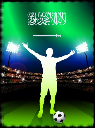 スタジアムの背景にサッカー選手とサウジアラビアの国旗オリジナル イラスト