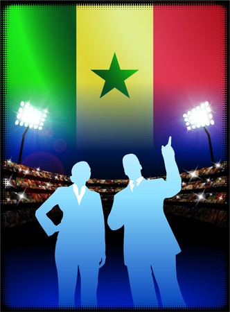 male symbol: Senegal Flag with Business Couple on Stadium Background Original Illustration