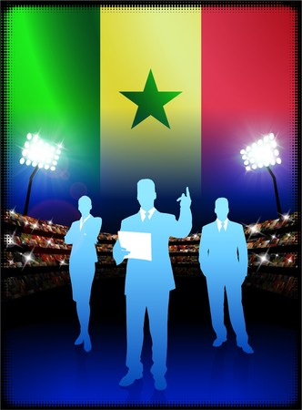male symbol: Senegal Flag with Business Team on Stadium Background Original Illustration