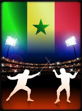 technique: Senegal Flag with Fencing on Stadium Background Original Illustration