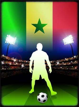 Senegal Flag with Soccer Player on Stadium Background Original Illustration illustration