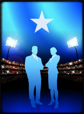 male symbol: Somalia Flag with Business Couple on Stadium Background Original Illustration Stock Photo