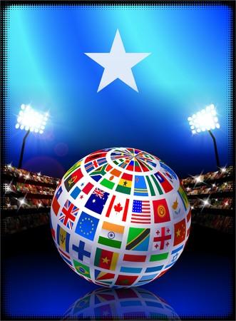 Somalia Flag with Globe on Stadium Background Original Illustration illustration