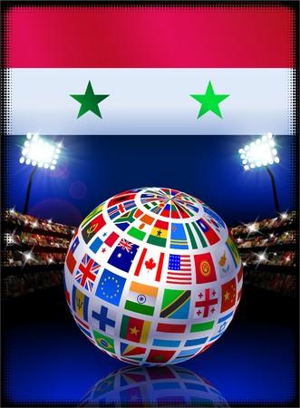 Syria Flag with Globe on Stadium Background Original Illustration illustration