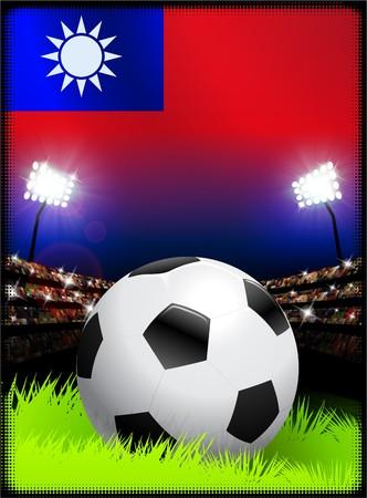 Taiwan Flag with Soccer Ball on Stadium Background Original Illustration