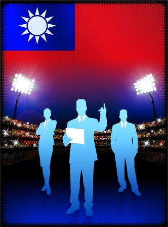 Taiwan Flag with Business Team on Stadium Background Original Illustration Reklamní fotografie