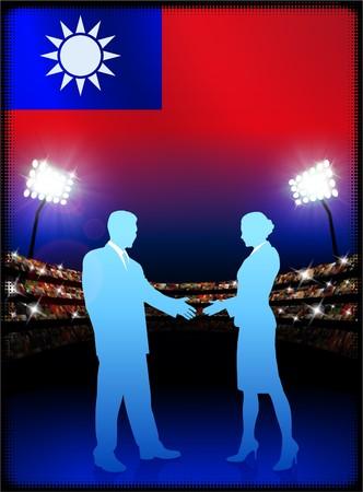 Taiwan Flag with Business Couple on Stadium Background Original Illustration