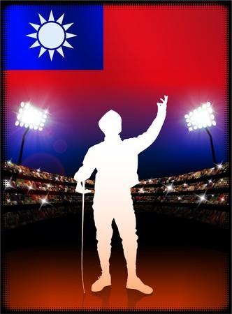 Taiwan Flag with Fencing on Stadium Background Original Illustration