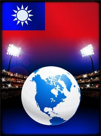 Taiwan Flag with Globe on Stadium Background Original Illustration illustration