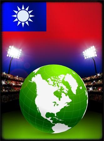 Taiwan Flag with Globe on Stadium Background Original Illustration Reklamní fotografie