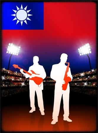 Taiwan Flag with Live Music Band on Stadium Background Original Illustration