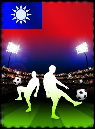 Taiwan Flag with Soccer Player on Stadium Background Original Illustration