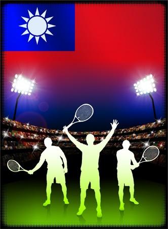 Taiwan Flag with Tennis Player on Stadium Background Original Illustration