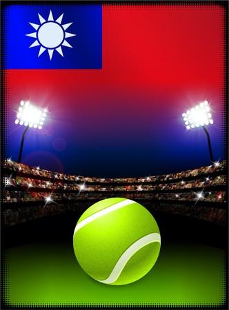 Taiwan Flag with Tennis Ball on Stadium Background Original Illustration