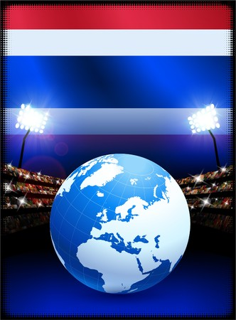 Thailand Flag with Globe on Stadium Background Original Illustration illustration