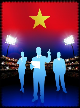 male symbol: Vietnam Flag with Business Team on Stadium Background Original Illustration