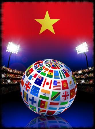 Vietnam Flag with Globe on Stadium Background Original Illustration illustration