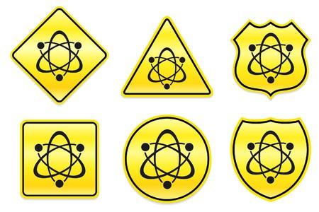 caution chemistry: Atom Icon on Yellow Designs Original Illustration Stock Photo