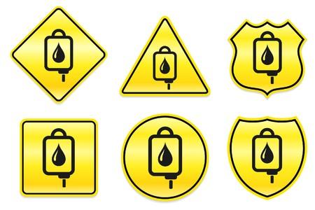 iv drip: Blood IV Drip Icon on Yellow Designs Original Illustration Stock Photo