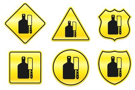 Slagersmes pictogram op gele ontwerpen originele illustratie Stockfoto