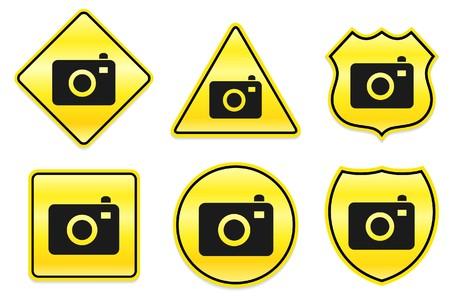 Camera-icoontje op gele ontwerpen Oorspronkelijke afbeelding