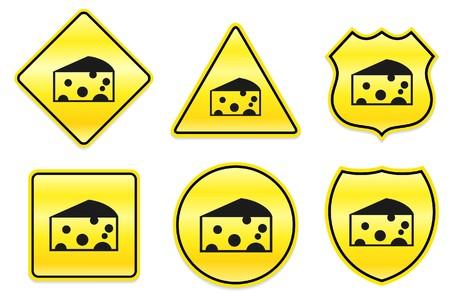 Kaas pictogram op gele ontwerpen Oorspronkelijke afbeelding Stockfoto