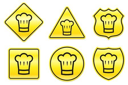 Chef-kok pictogram op gele ontwerpen Originele illustratie