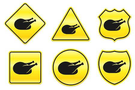 Chicken Icon on Yellow DesignsOriginal Illustration Stock Illustration - 7459742