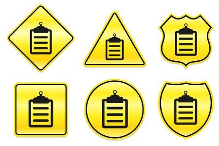 Klembordpictogram op gele ontwerpen originele illustratie