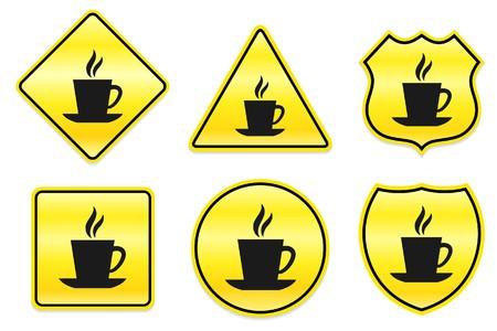 Koffiepictogram op gele ontwerpen originele illustratie