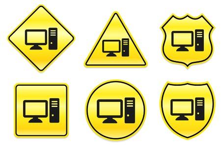 Computer Icon on Yellow Designs Original Illustration illustration