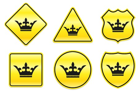 Crown Icon on Yellow Designs Original Illustration illustration