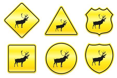노란색 디자인에 사슴 아이콘 원래 그림 스톡 콘텐츠