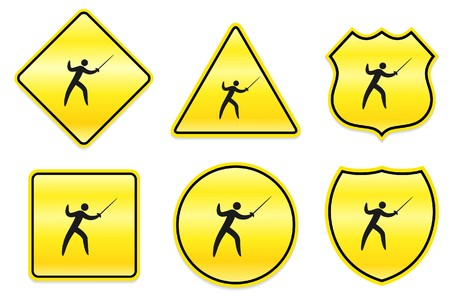 Fencing Icon on Yellow Designs Original Illustration illustration