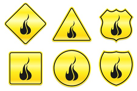 Fire Icon on Yellow Designs Original Illustration illustration