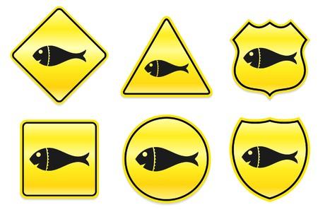 Het pictogram van de vissen op geel Designs Originele illustratie