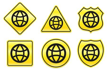 Wereldbol icoon op gele ontwerpen Oorspronkelijke afbeelding