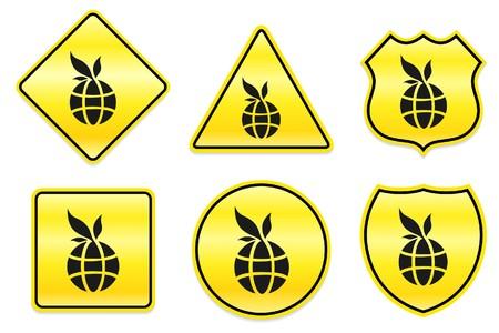 Globe Icon on Yellow Designs Original Illustration Stock fotó
