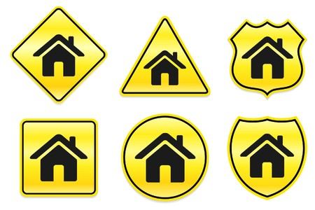 House Icon on Yellow Designs Original Illustration illustration