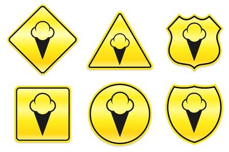 Ice Cream Icon on Yellow Designs Original Illustration Banco de Imagens