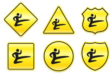 Karate Icon on Yellow Designs Original Illustration Stockfoto