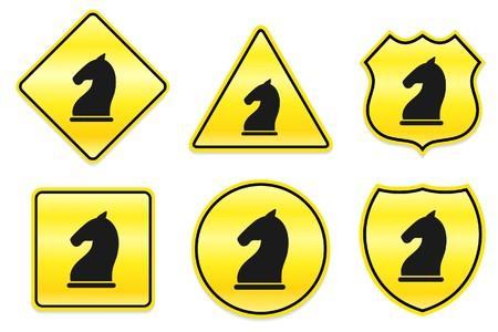 Chess Knight Icon on Yellow Designs Original Illustration illustration