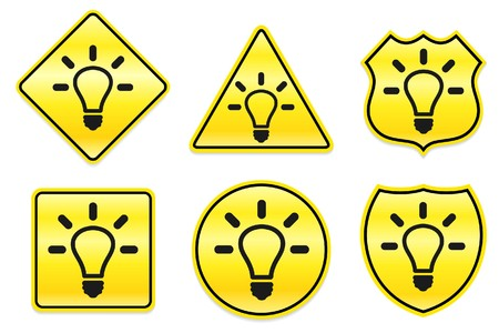 Light Bulb Icon on Yellow Designs Original Illustration illustration