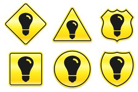 Gloeilamppictogram op Gele Ontwerpen Originele Illustratie Stockfoto