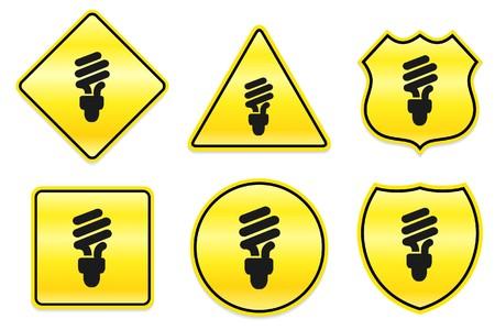 bombillo ahorrador: Icono bombilla de la luz fluorescente en dise�os de amarillos Ilustraci�n original