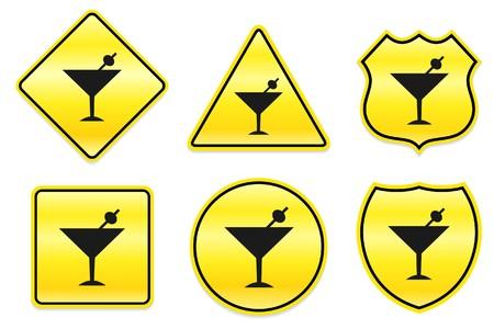 Martini Icon on Yellow Designs Original Illustration