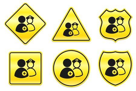 Medisch teampictogram op gele ontwerpen originele illustratie