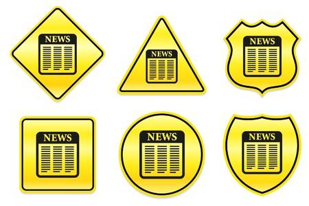 Krant-pictogram op de gele Designs Originele illustratie