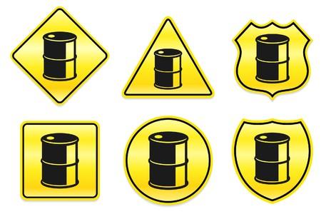 Olie kan het pictogram op de gele Designs Originele illustratie  Stockfoto